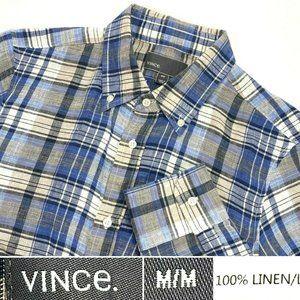 VINCE Mens Sz M 100% Linen Button Down Plaid Shirt